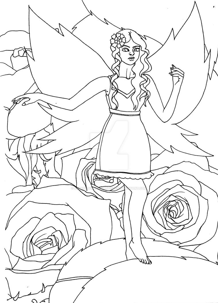 Fairy in the Rose World - Uncoloured. by Psychosomatic-Psyche