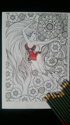 Superheroine - Adult Colouring Page
