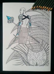 Warrior Merman - Adult Colouring Page