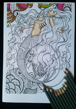 Floating Mermaid - Adult Colouring Page
