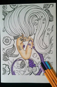 Transforming Mermaid - Adult Colouring Page