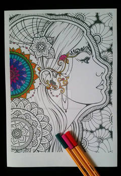 Mandala Girl - Adult Colouring Page