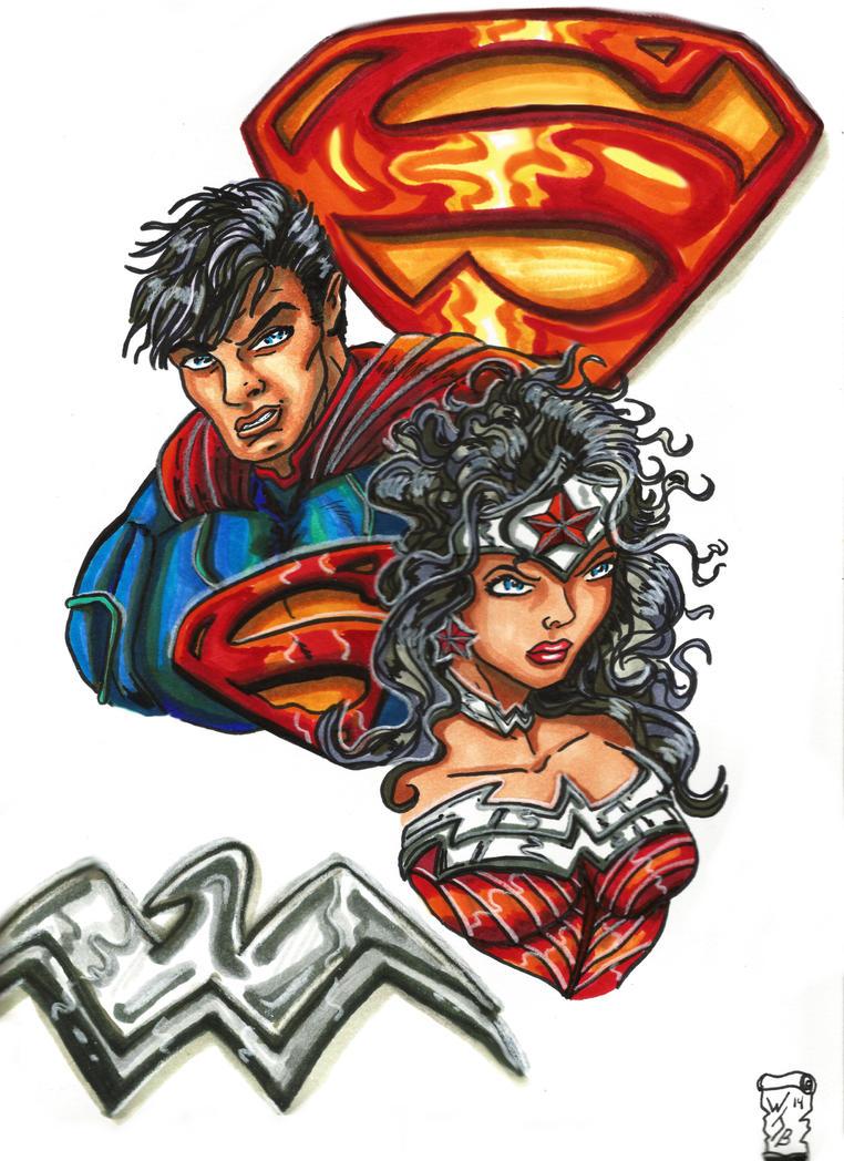Superman Wonder Woman by KwongBee-Arts
