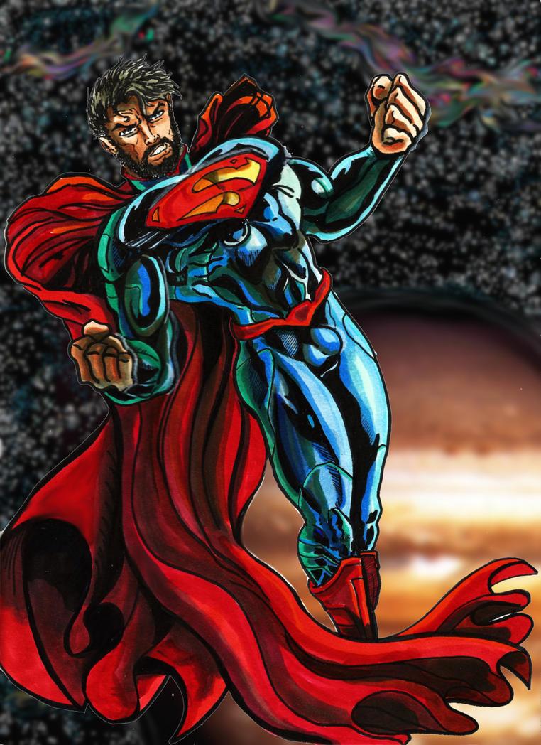 Cosmic Bearded Superman by KwongBee-Arts