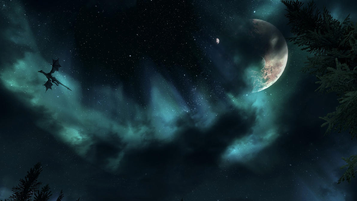 Skyrim dragon night sky wallpaper by Mallony