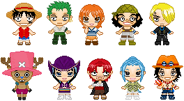One Piece Pixel Dolls by mikura