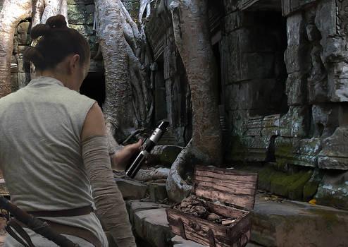 Rey finds Vader's saber
