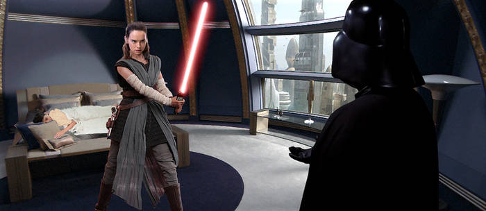 Rey attempts to protect young Ben from Vader