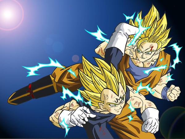 Goku ssj 2 vs Majin Vegeta ssj by kingvegito on DeviantArt