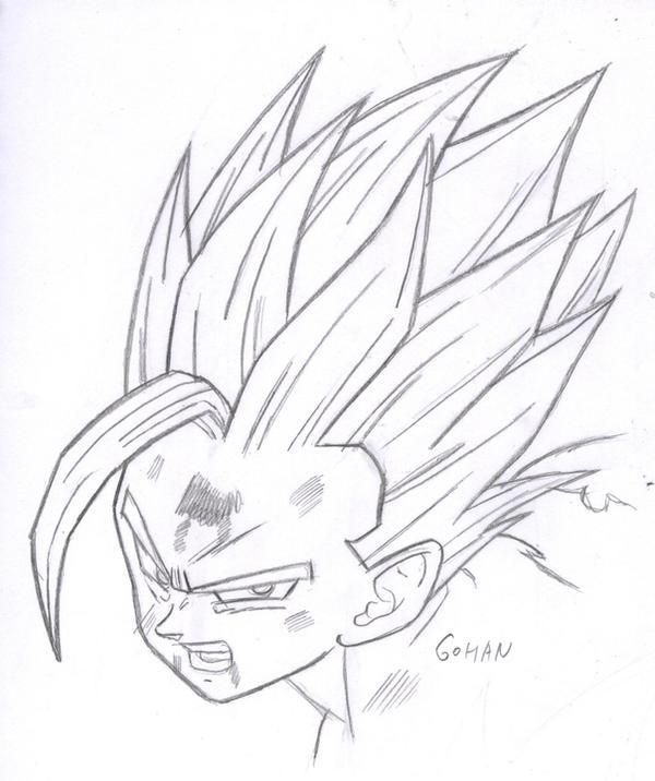 Gohan Ssj 2 Face Sketch By Kingvegito On Deviantart