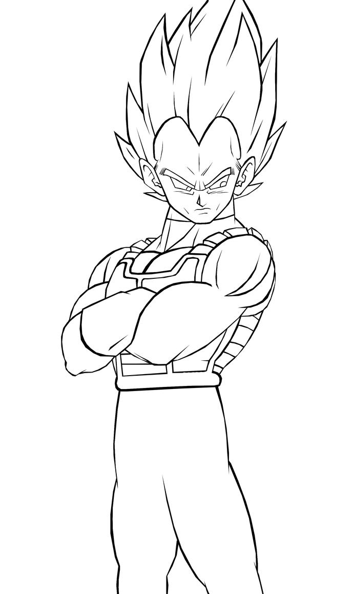 vegeta coloring page - vegeta ssj line art by kingvegito on deviantart