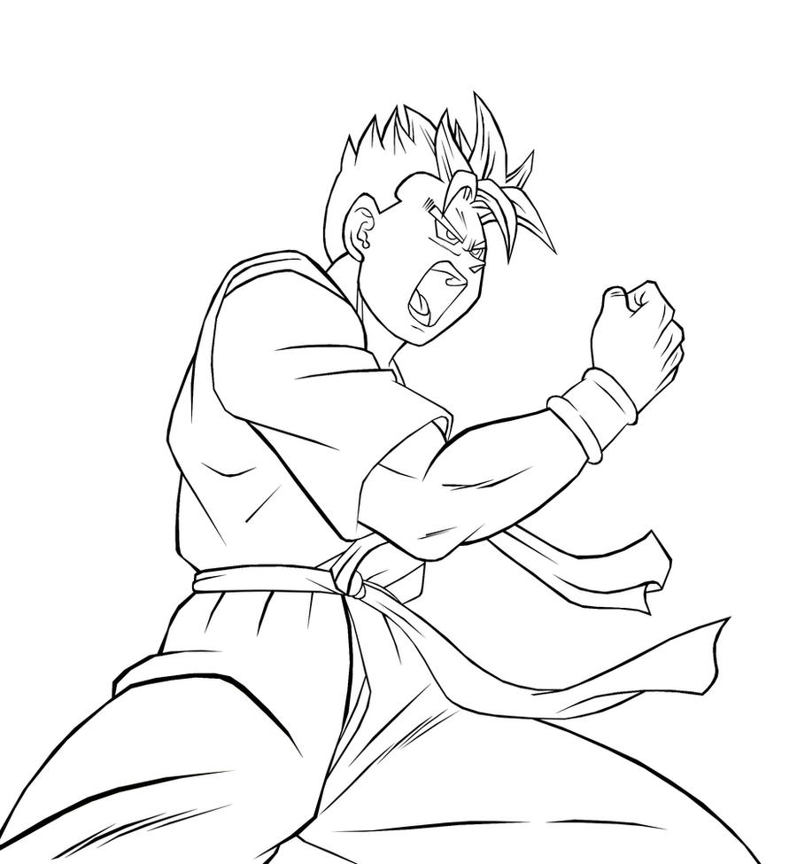 lineart future gohan ssj by kingvegito on deviantart