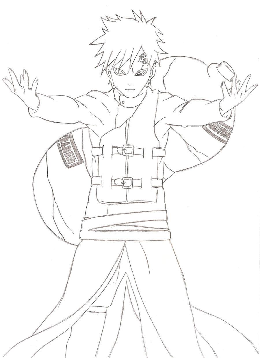 Naruto Shippuden Lineart : Gaara shippuden lineart by kingvegito on deviantart