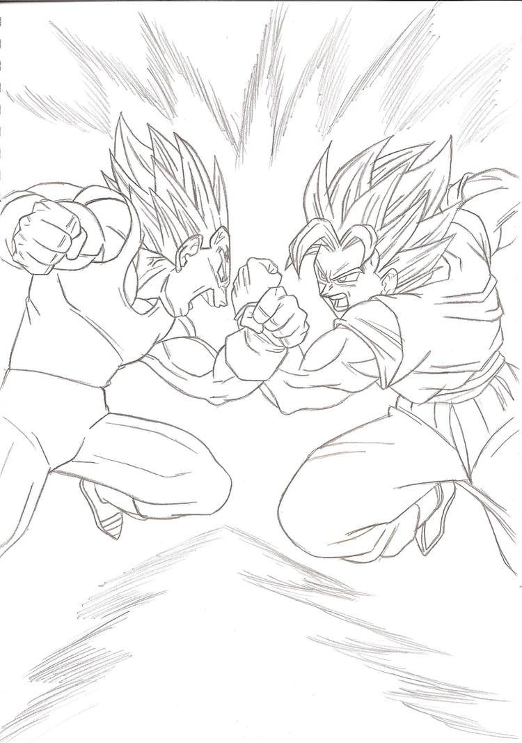 Line Art Vs Sketch : Goku vs majin vegeta lineart by kingvegito on deviantart