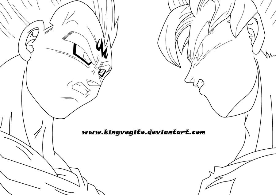 Goku vs majin vegeta by kingvegito on deviantart for Goku and vegeta coloring pages
