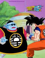 Goku and King Kai Coloured by kingvegito