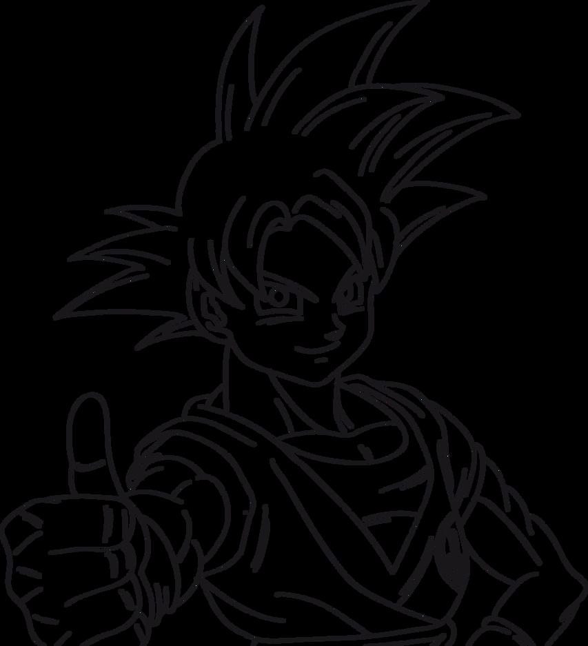 Goku Super Saiyan God Lineart Test With Tablet by