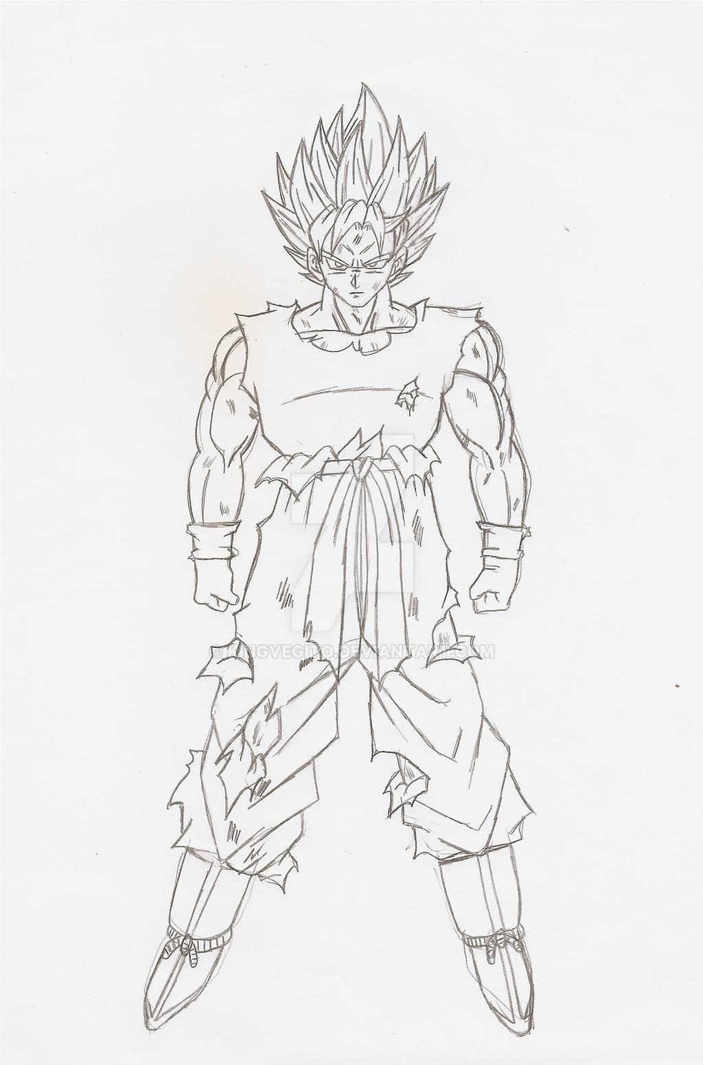 goku full body ssj lineart sketch by kingvegito on deviantart