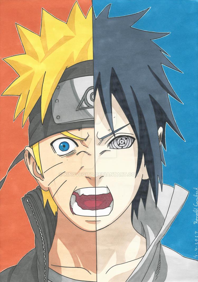 Naruto and Sasuke with promarkers by kingvegito