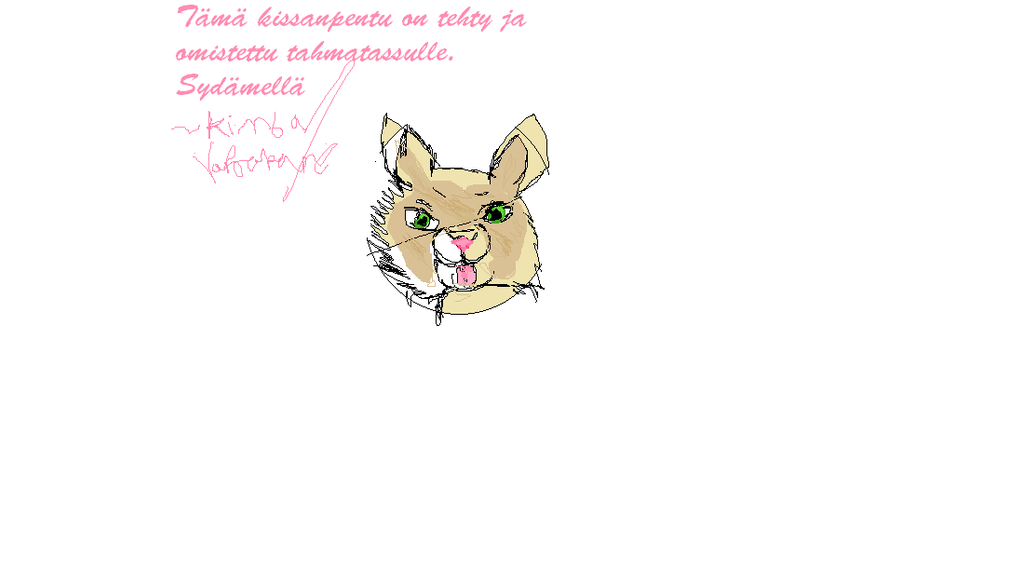 Kitten drawn with MS PAINT by Varjokani