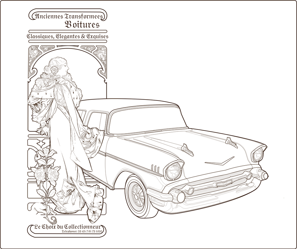Remodeled Old Car Ad Line Art