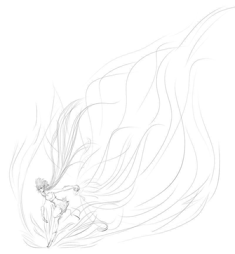 Phoenix Flames Sketch by shinyrainbowthing