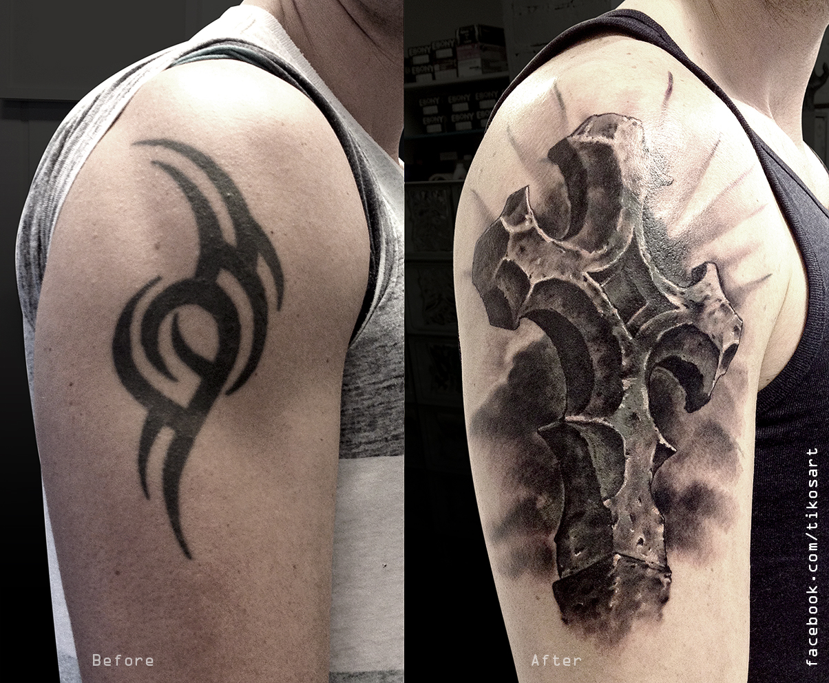 Cover up with a cross by tikos on deviantart for How to cover up tattoos for work