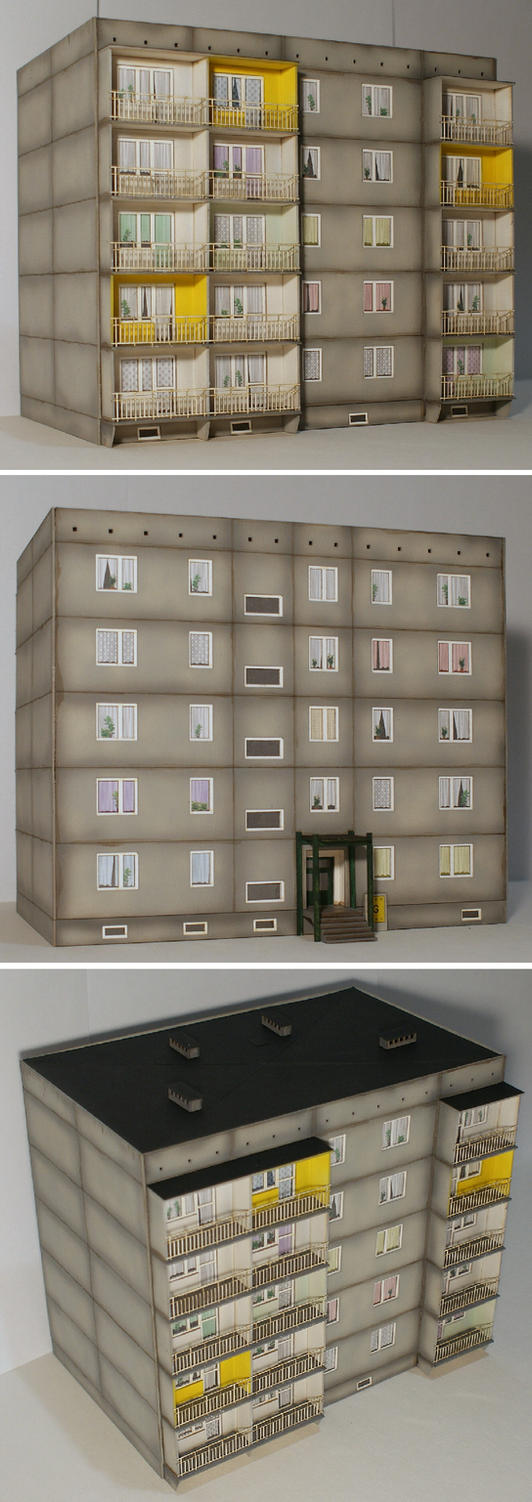 Another block of flats model in H0 (1:87) scale by half-halfling