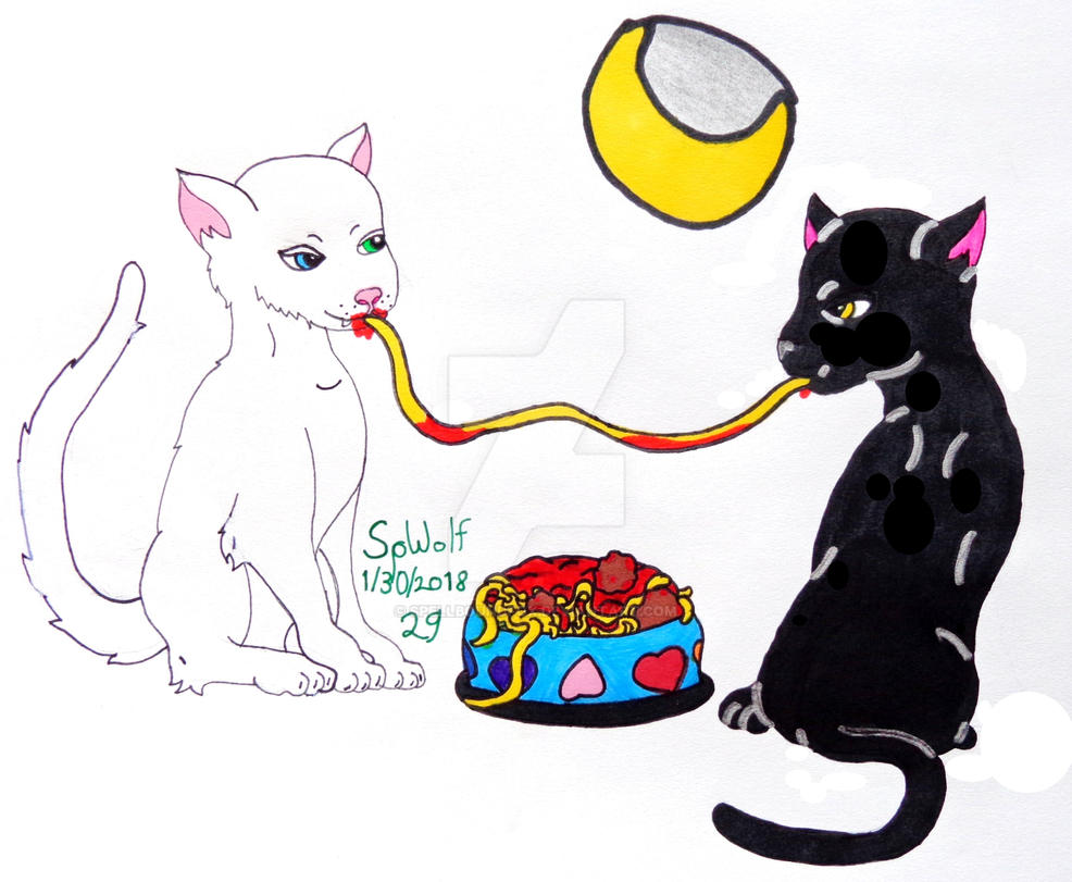 Sims 4 Painting Re-Creation: Spaghetti Kitties by SpellboundFox
