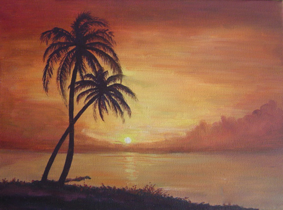 Palm Tree Sunset By Nitefise