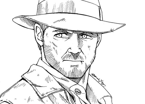 Lineart Comm. - Indiana Jones by nitefise