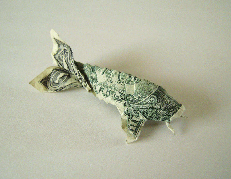 Dollar origami koi by supernatural28 on deviantart for Dollar bill origami fish