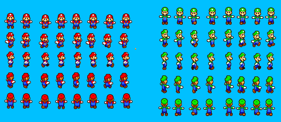 Mario and Luigi Run Overworld Sprite Sheet