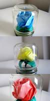 Origami Roses in Mini Jars
