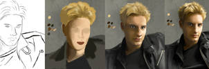 Justin Hartley Portrait - WIP by sweetcivic