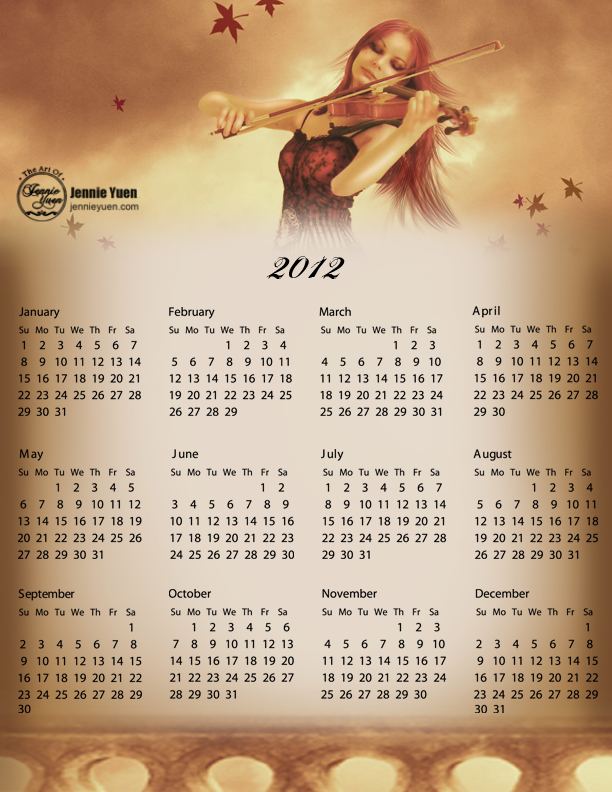 The Violinist: 2012 Full Year Calendar