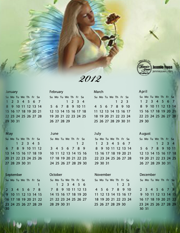 The Garden Fairy: 2012 Full Year Calendar