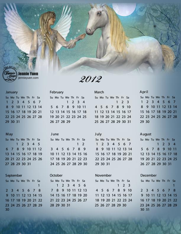 Snow Angel: 2012 Full Year Calendar