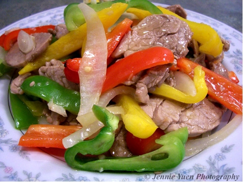 Sliced Pork and Bell Peppers by sweetcivic