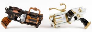 Ebony and Ivory Steampunk guns by 3Dpoke