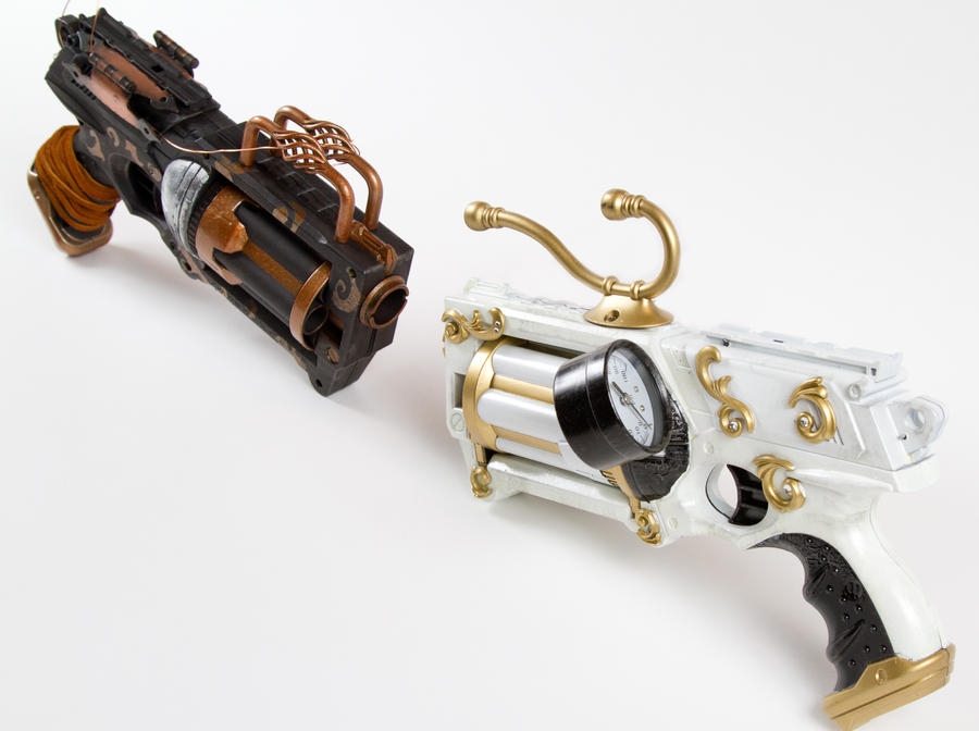 Ebony and Ivory steampunk guns #2 by 3Dpoke