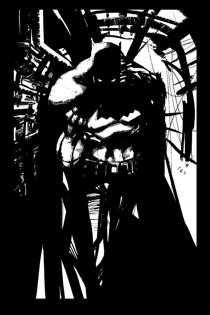 Batman Sketch BW variant by JohnyBlazzze