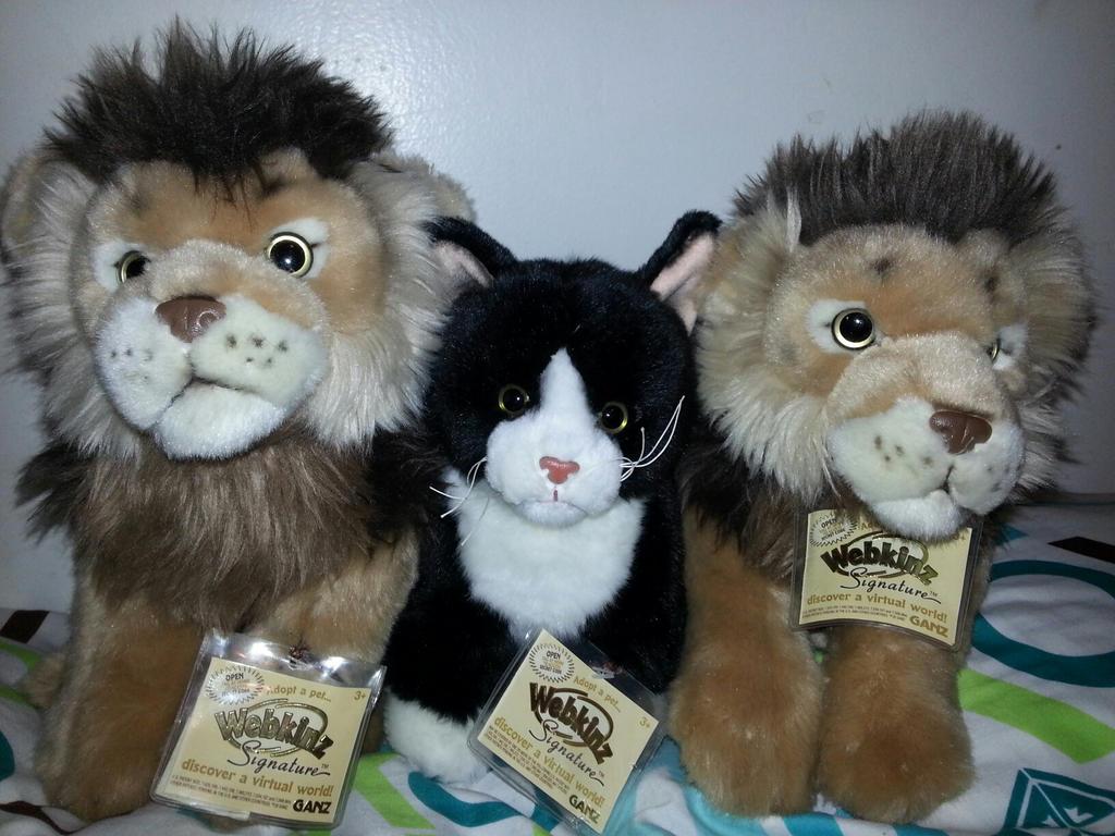Webkinz Signature lions and tuxedo cat for sale by xoxoxivoryxoxox