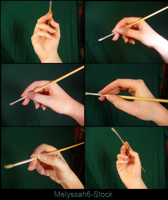 Hand Pose Stock - Holding Paintbrush