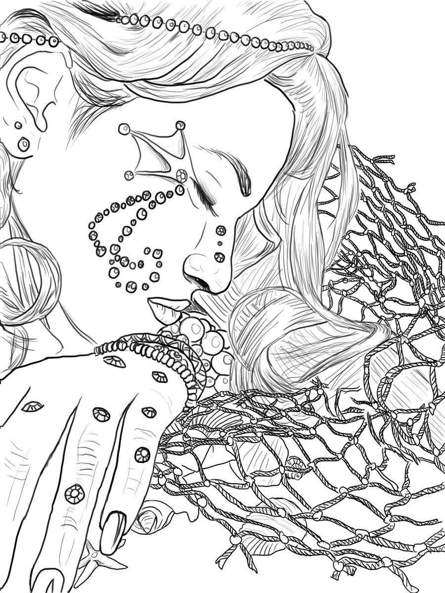 Mermaid Line Art by Melyssah6Stock