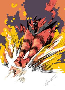 wrestling fire cat