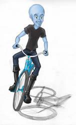 Megamine on a bicycle by akuma-neko