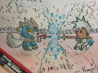 Mecha Frost Wolf vs Frost Wizard by ikafox