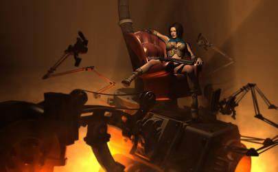Nomad sits atop some machine by DarkGeometryArt