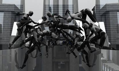 Cyborg Acrobatics by DarkGeometryArt